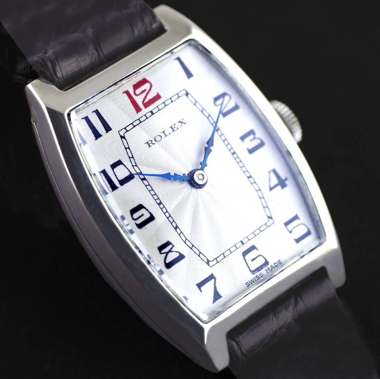 Rolex Sterling Silver Art Deco Tonneau Wristwatch, 1926 1