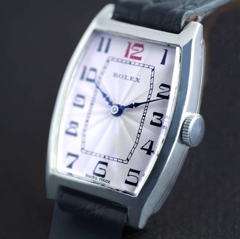 Rolex Sterling Silver Art Deco Tonneau Wristwatch, 1926 2