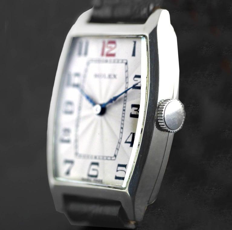 Rolex Sterling Silver Art Deco Tonneau Wristwatch, 1926 3