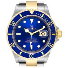 Rolex Submarine Blue Dial Steel Yellow Gold Men's Watch 16613 Box Papers