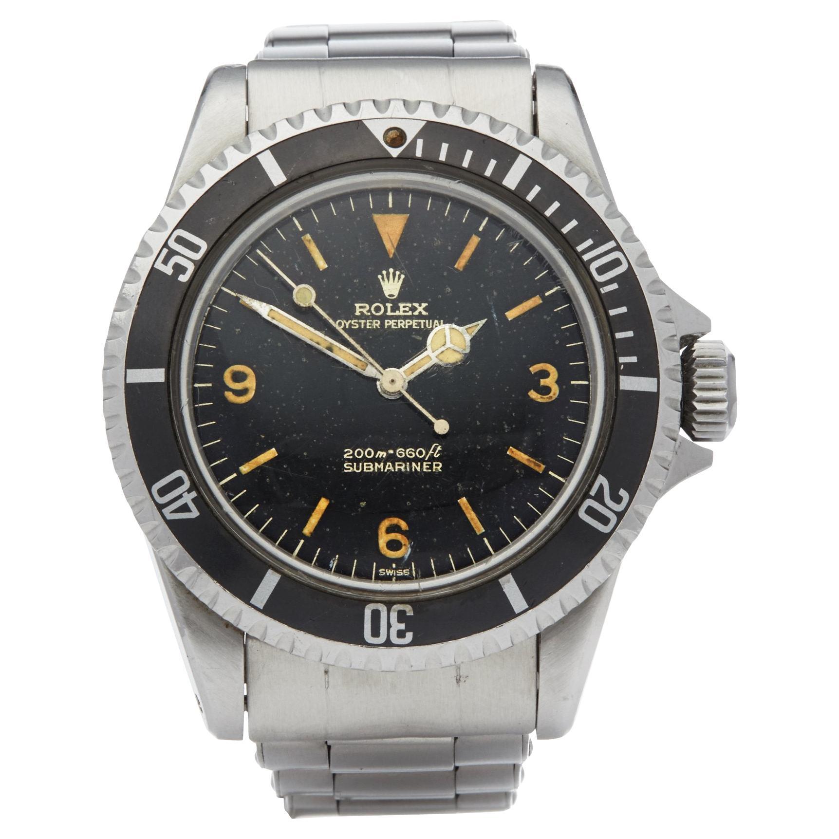 "Rolex Submariner 0 5513 Men Stainless Steel Gilt Explorer ""Kissing L"" Dial Watch"