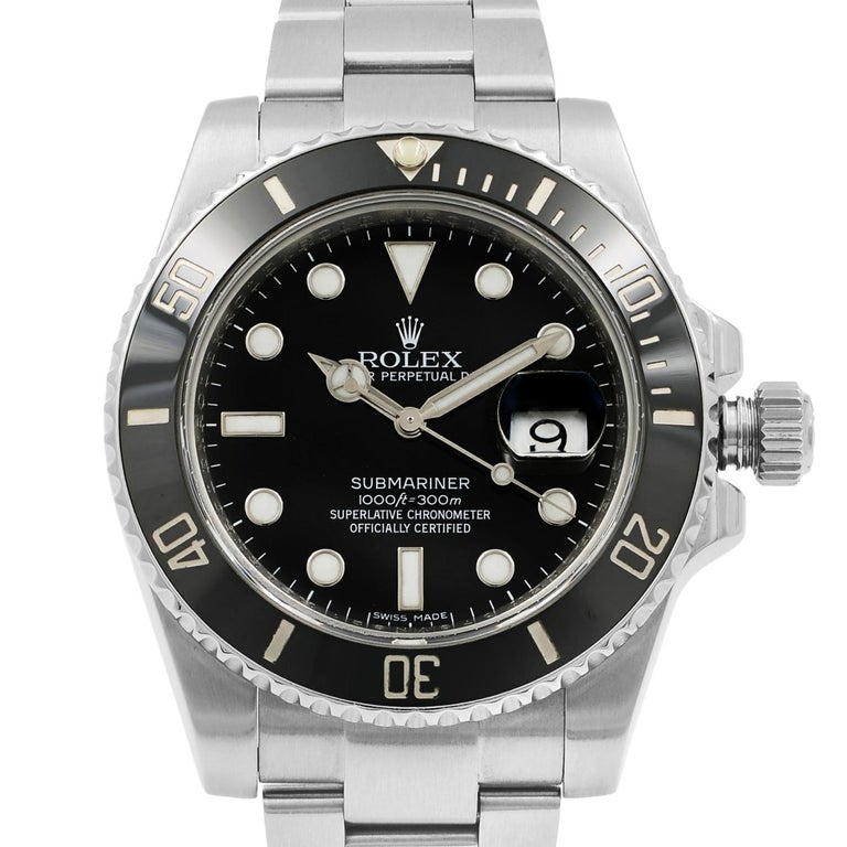 This pre-owned Rolex Submariner  116610LN  is a beautiful men's timepiece that is powered by mechanical (automatic) movement which is cased in a stainless steel case. It has a round shape face, date indicator dial and has hand dots, sticks style