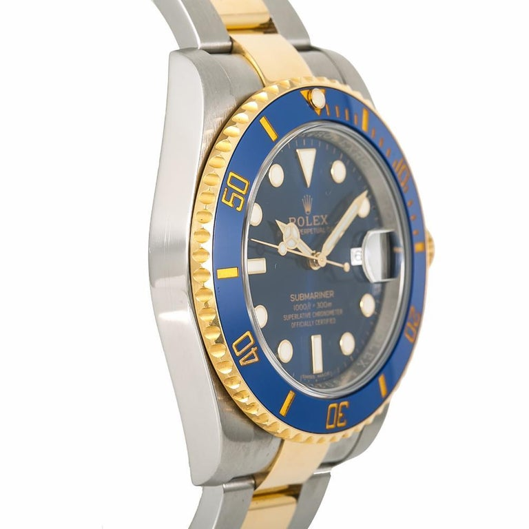 Rolex Submariner 116613, Blue Dial, Certified and Warranty In Excellent Condition For Sale In Miami, FL