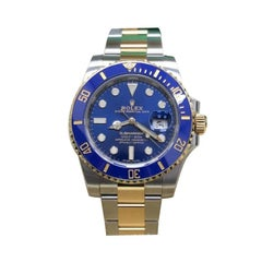 Rolex Submariner 116613 Blue 18 Karat Yellow Gold and Steel Box and Papers, 2019