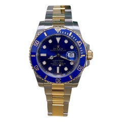 Rolex Submariner 116613 Blue Dial 18 Karat Gold Stainless Steel Box Paper, 2014