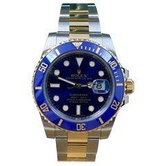 Rolex Submariner 116613 Blue Dial 18 Karat Gold Stainless Steel Box Paper, 2015