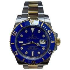 Rolex Submariner 116613 Blue Diamond Dial 18 Karat Gold Steel Box Paper, 2010