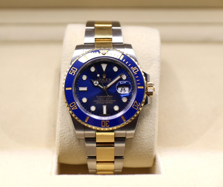 Rolex Submariner 116613LB Two-Tone Ceramic Blue Bezel, Blue Dial Box Papers For Sale 8