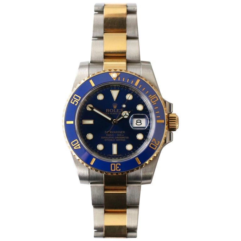 Rolex Submariner 116613LB Two-Tone Ceramic Blue Bezel, Blue Dial Box Papers For Sale