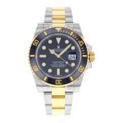 Rolex Submariner 116613LN Black on Black Steel Yellow Gold Automatic Men's Watch