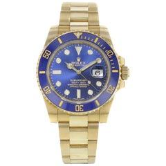 Rolex Submariner 116618 Blue on Blue 18 Karat Yellow Gold Automatic Men's Watch