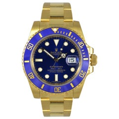 Rolex Submariner 116618LB 18 Karat Yellow Gold Blue Dial Automatic Men's Watch
