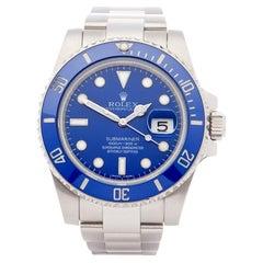 Rolex Submariner 116619LB Men White Gold Smurf Watch