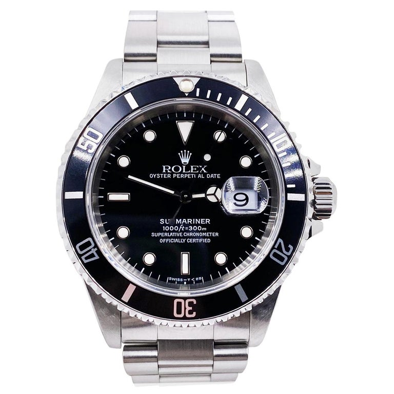Rolex Submariner 16610 Black Date Stainless Steel Mint For Sale