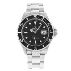 Rolex Submariner 16610 Black Dial Date Engraved Steel Automatic Men's Watch