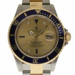 Rolex Submariner 16613 Serti Champagne Diamond Steel Gold Warranty #359-2