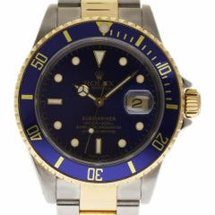 Rolex Submariner 16613 Stainless Steel Gold Blue 2001 2 Year Warranty #254-1