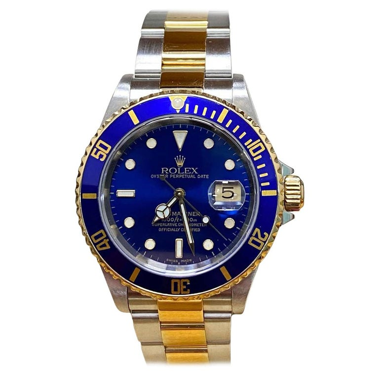 Rolex Submariner 16613 Blue Dial 18 Karat Gold and Stainless Steel Box Papers For Sale