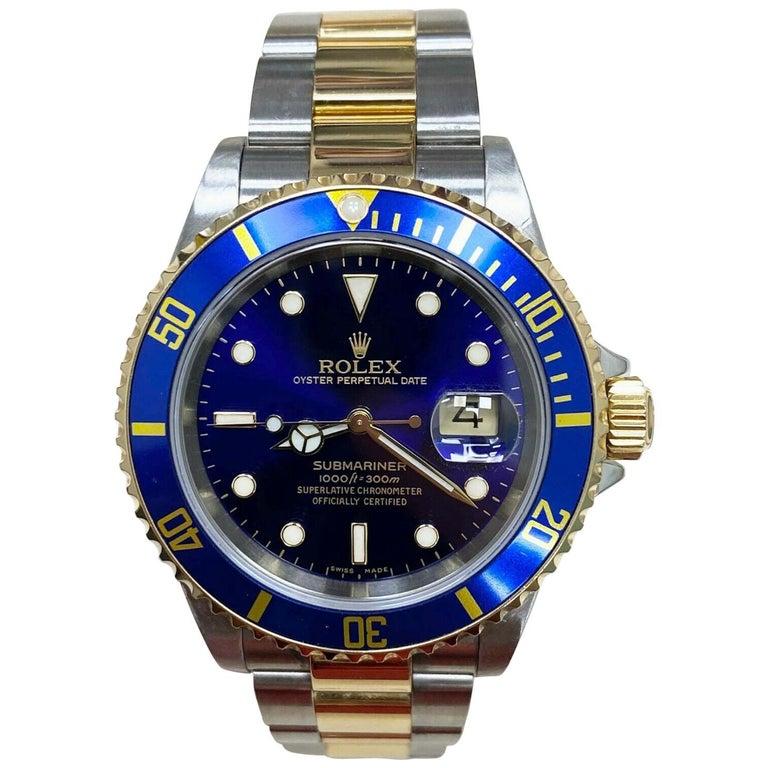 Rolex Submariner 16613 Blue Dial 18 Karat Gold Stainless Steel Gold Through For Sale