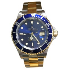 Rolex Submariner 16613 Blue Dial 18 Karat Gold Stainless Steel Gold Through