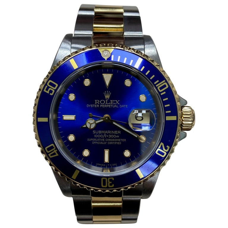Rolex Submariner 16613 Blue Dial 18 Karat Yellow Gold Stainless Steel For Sale