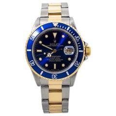 Rolex Submariner 16613 Blue Dial 18k N serial 1991 Two Tone Mens Watch
