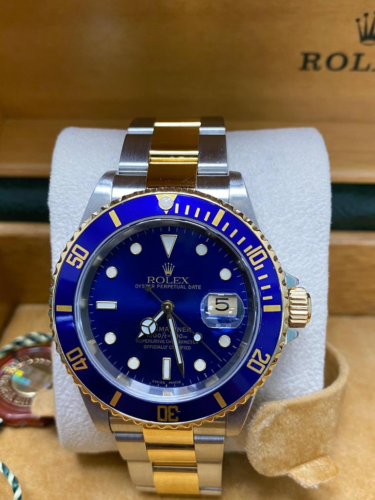 Men's Rolex Submariner 16613 Blue Dial 18 Karat Gold and Stainless Steel Box Papers For Sale