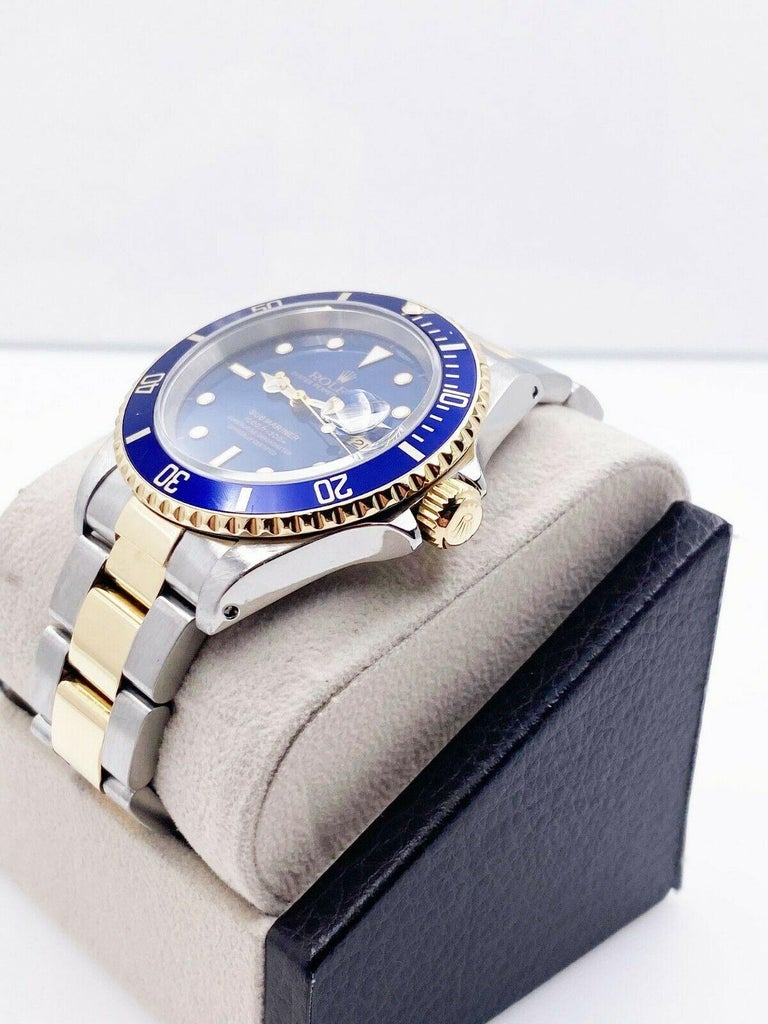 Rolex Submariner 16613 Blue Dial 18 Karat Yellow Gold Stainless Steel For Sale 1