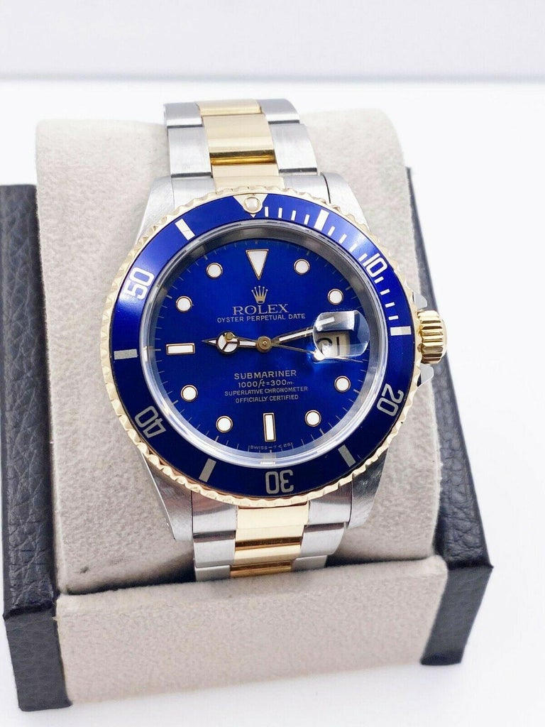 Rolex Submariner 16613 Blue Dial 18 Karat Yellow Gold Stainless Steel For Sale 2