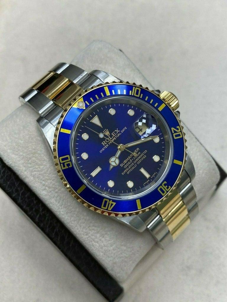 Rolex Submariner 16613 Blue Dial 18 Karat Gold Stainless Steel Gold Through For Sale 1
