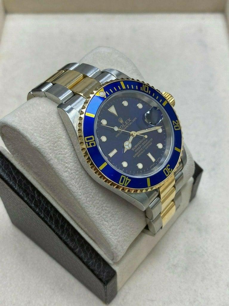 Rolex Submariner 16613 Blue Dial 18 Karat Gold Stainless Steel Gold Through For Sale 2