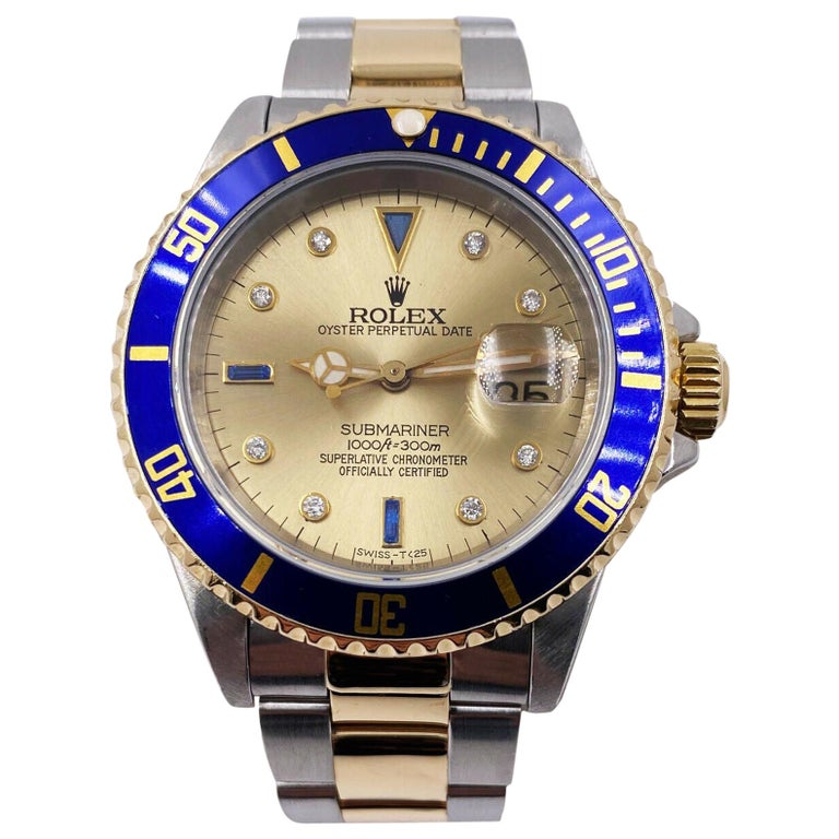 Rolex Submariner 16613 Champagne Serti Dial 18 Karat Yellow Gold Stainless Steel For Sale