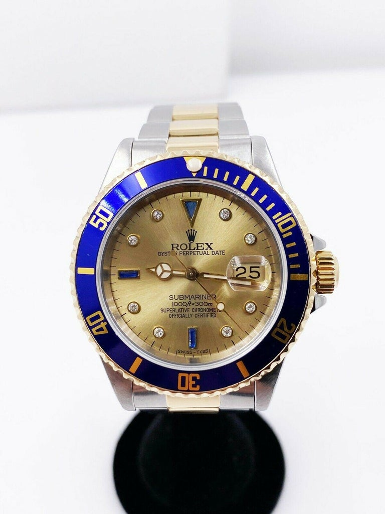 Rolex Submariner 16613 Champagne Serti Dial 18 Karat Yellow Gold Stainless Steel In Excellent Condition For Sale In San Diego, CA