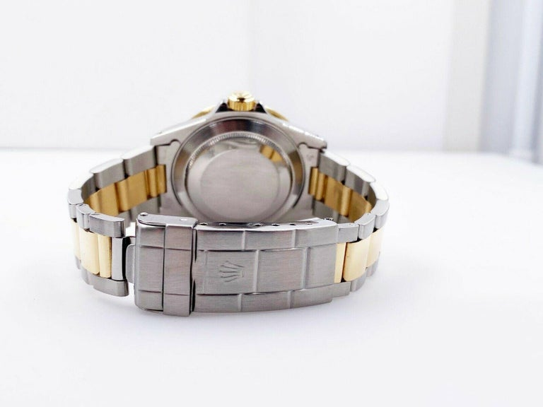 Men's Rolex Submariner 16613 Champagne Serti Dial 18 Karat Yellow Gold Stainless Steel For Sale