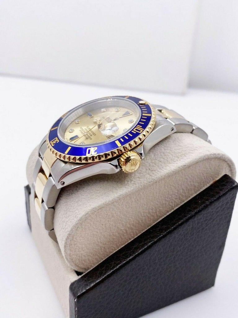 Rolex Submariner 16613 Champagne Serti Dial 18 Karat Yellow Gold Stainless Steel For Sale 2