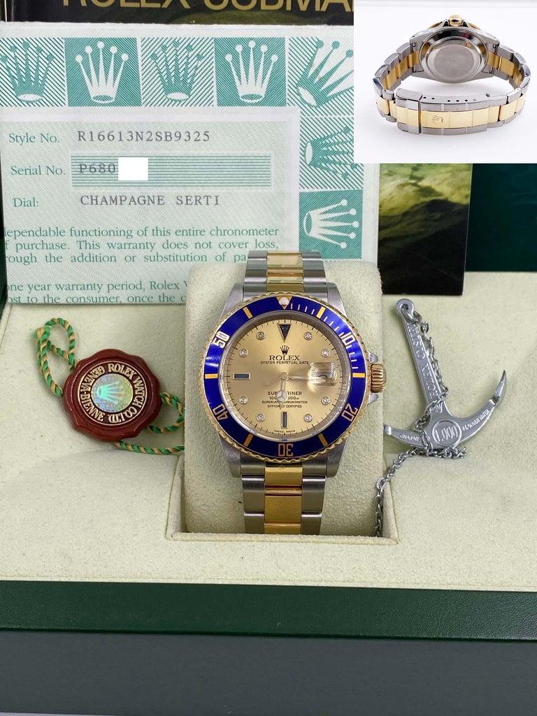 Rolex Submariner 16613 Champagne Serti Diamond Dial 18K Gold Steel Box Paper For Sale 7