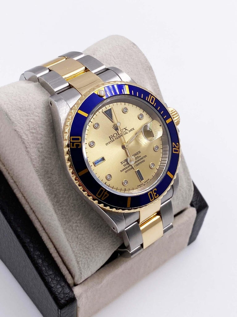 Rolex Submariner 16613 Champagne Serti Diamond Dial 18K Gold Steel Box Paper In Excellent Condition For Sale In San Diego, CA