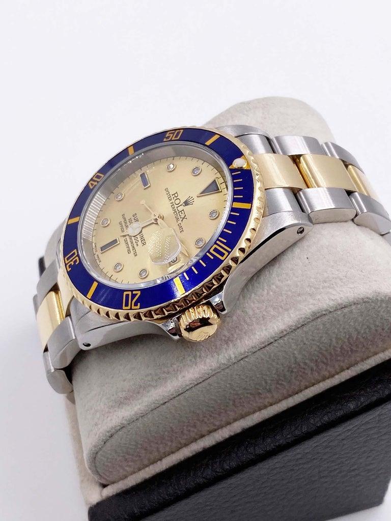 Men's Rolex Submariner 16613 Champagne Serti Diamond Dial 18K Gold Steel Box Paper For Sale