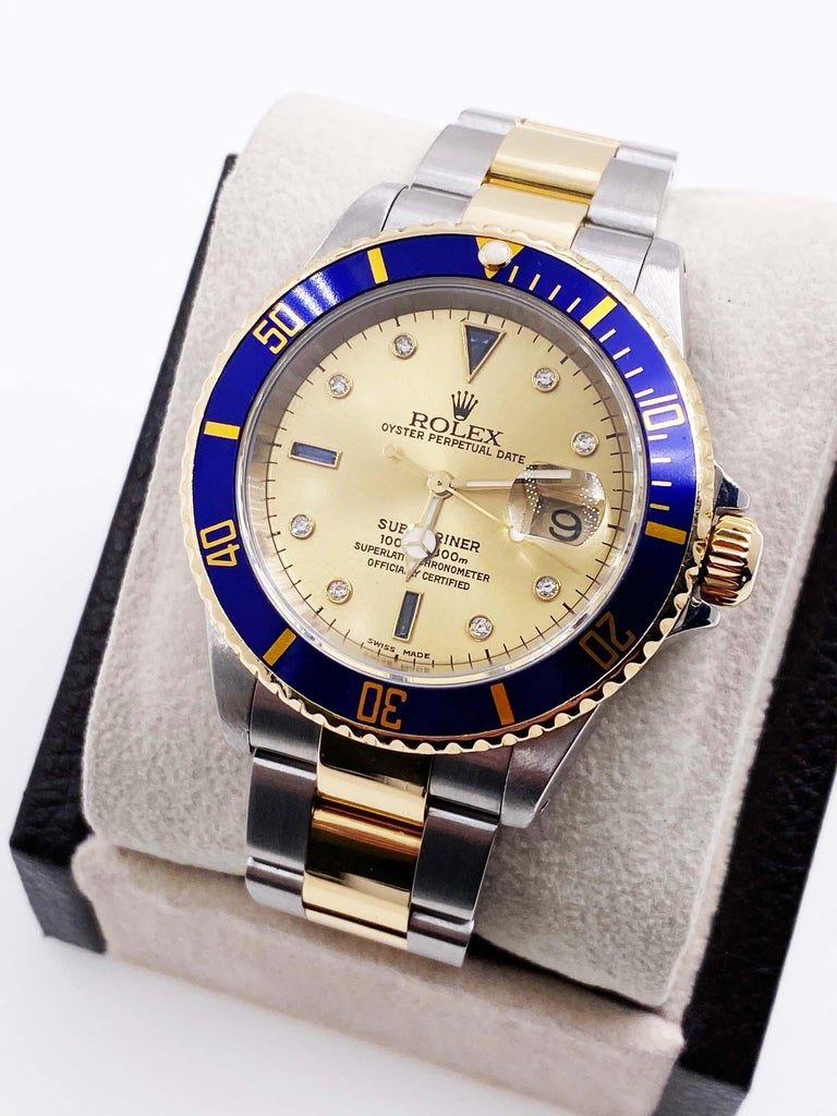 Rolex Submariner 16613 Champagne Serti Diamond Dial 18K Gold Steel Box Paper For Sale 1