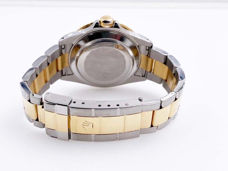 Rolex Submariner 16613 Champagne Serti Diamond Dial 18K Gold Steel Box Paper For Sale 2