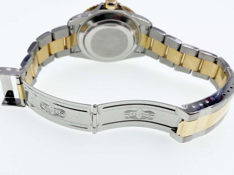 Rolex Submariner 16613 Champagne Serti Diamond Dial 18K Gold Steel Box Paper For Sale 3