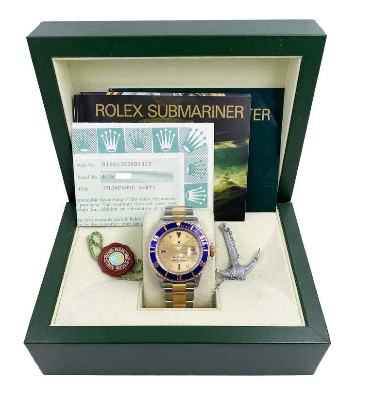 Rolex Submariner 16613 Champagne Serti Diamond Dial 18K Gold Steel Box Paper For Sale 4