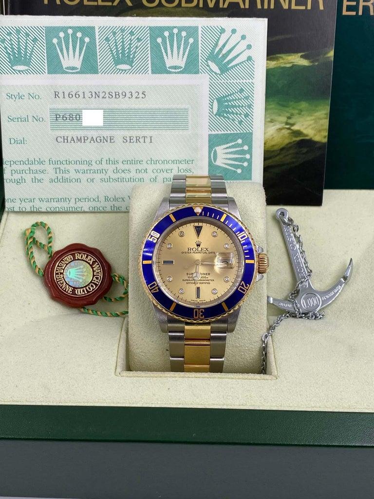 Rolex Submariner 16613 Champagne Serti Diamond Dial 18K Gold Steel Box Paper For Sale 5