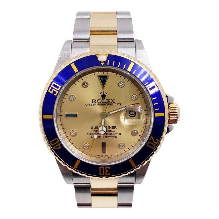 Rolex Submariner 16613 Champagne Serti Diamond Dial 18K Gold Steel Box Paper For Sale