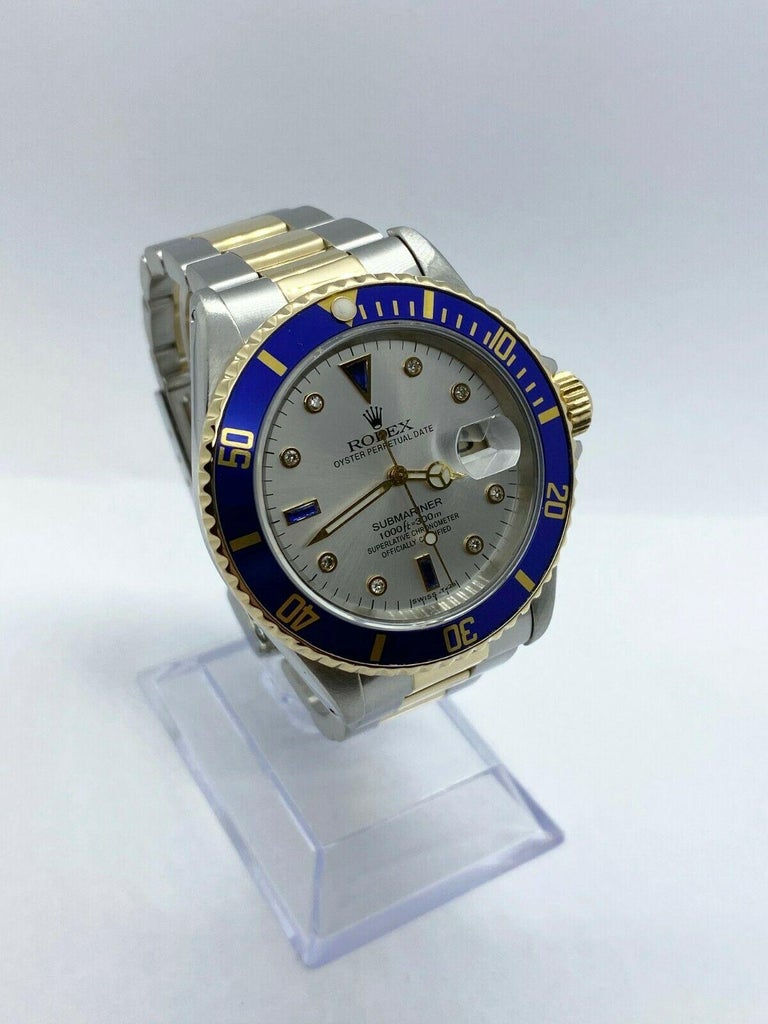 Rolex Submariner 16613 Diamond Sapphire Serti Dial 18K Yellow Gold Stainless In Excellent Condition For Sale In San Diego, CA
