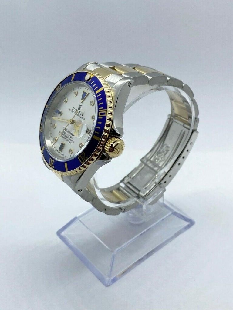 Men's Rolex Submariner 16613 Diamond Sapphire Serti Dial 18K Yellow Gold Stainless For Sale
