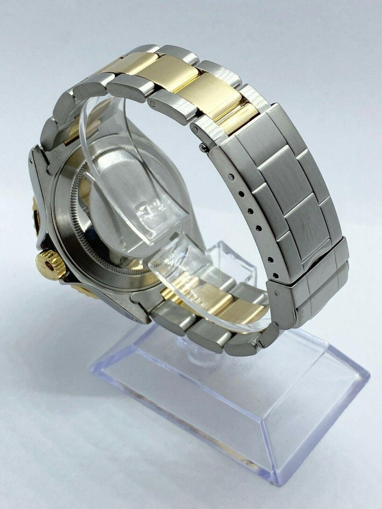 Rolex Submariner 16613 Diamond Sapphire Serti Dial 18K Yellow Gold Stainless For Sale 1