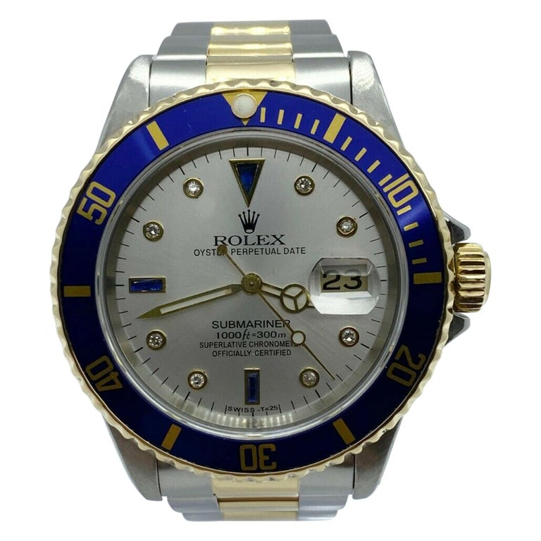 Rolex Submariner 16613 Diamond Sapphire Serti Dial 18K Yellow Gold Stainless For Sale