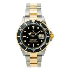 Rolex Submariner 16613 Men's Automatic Watch Black Dial Two-Tone Gold Buckle