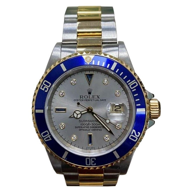 Rolex Submariner 16613 Slate Serti Dial 18 Karat Yellow Gold Steel Box Papers For Sale